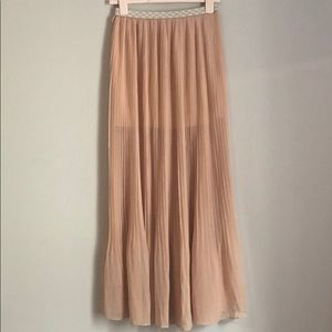 Love Riche Pleated Sheer Maxi Skirt
